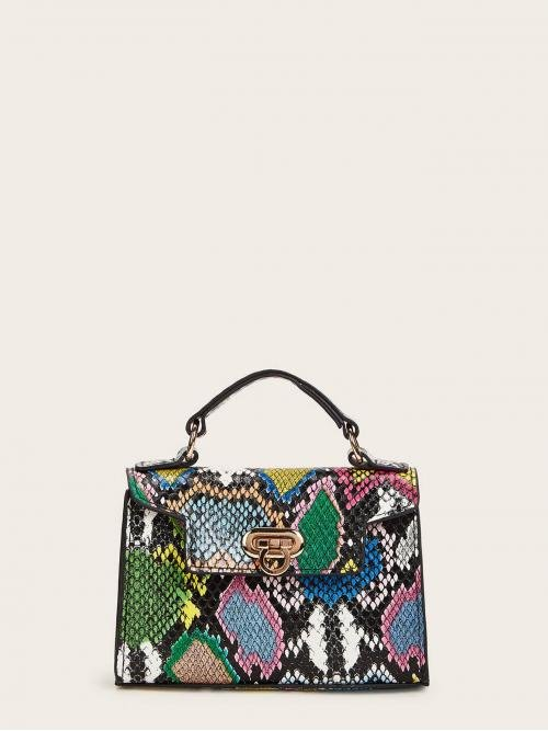 Casual Snakeskin Print Chain Multicolor Small Size Snakeskin Flap Satchel Bag With Chain Strap
