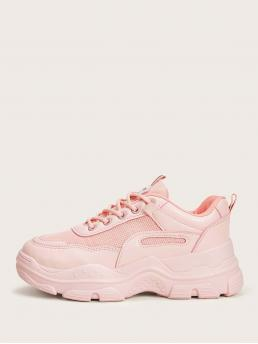 Comfort Round Toe Plain Pink and Pastel Lace-up Front Chunky Sneakers