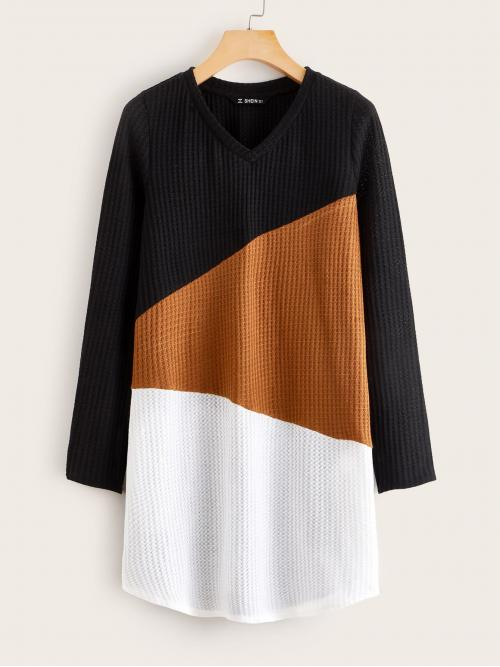 Casual Tee Colorblock Straight Regular Fit V neck Long Sleeve Regular Sleeve Natural Multicolor Short Length Cut-and-sew Waffle Knit Dress