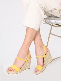 Polyester Yellow Mules Belted Platform Wedges Cheap