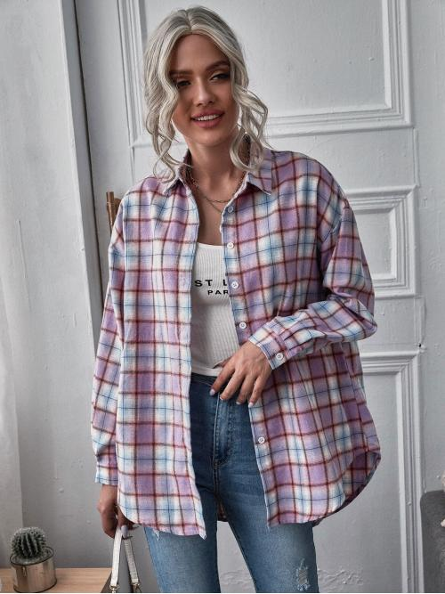 Sale Long Sleeve Tunic Button Polyester Curved Hem Blouse