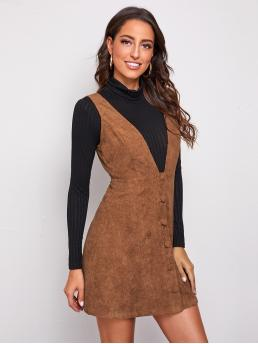 Clearance Brown Plain Button Front Deep V Neck Covered Button up Cord Overall Dress