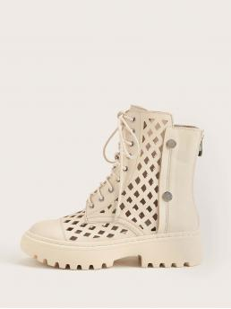 Women's Apricot Combat Boots Studded Low Heel Hollow out Lace-up
