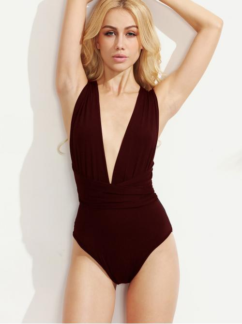 Sexy Plain Deep V Neck Sleeveless Burgundy Multiway Cross Tie Back Plunging Bodysuit