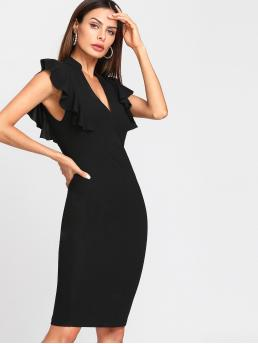 Elegant Bodycon Plain Slim Fit Deep V Neck Cap Sleeve Black Midi Length Ruffle Trim Vented Back Fitted Dress