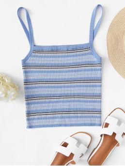 Casual Cami Striped Slim Fit Spaghetti Strap Blue Crop Length Rib Knit Striped Cami Top
