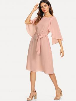 Pink Plain Belted Round Neck Cape Sleeve Self Solid Dress Ladies