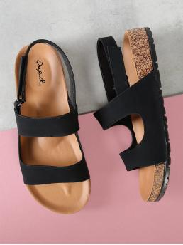Casual Peep Toe Black Low Heel Double Band Cork Bed Sandals