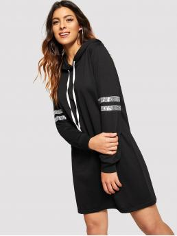 Sporty Dress Striped Regular Fit Hooded Long Sleeve Black Longline Length Sequin Varsity Striped Hoodie Sweatshirt Dress