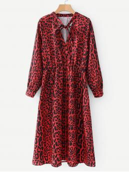 Casual A Line Leopard Flared Regular Fit Tie Neck Long Sleeve Natural Red Midi Length Tie Neck Leopard Print Dress