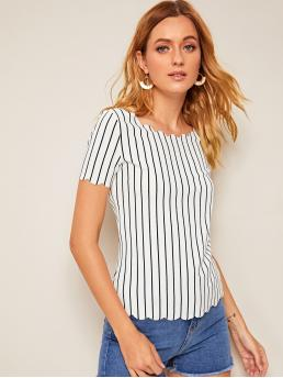 Casual Striped Top Regular Fit Round Neck Short Sleeve Regular Sleeve Pullovers White Regular Length Scallop Edge Striped Top
