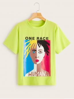 Casual Letter and Figure Regular Fit Round Neck Short Sleeve Pullovers Green Regular Length Letter & Figure Print Tee