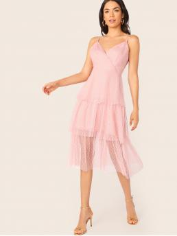 Romantic Cami Plain Layered/Tiered Regular Fit Spaghetti Strap Sleeveless High Waist Pink Long Length Jacquard Mesh Overlay Layered Hem Wrap Slip Dress with Lining