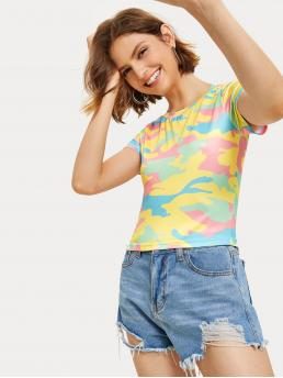 Casual Camo Regular Fit Round Neck Short Sleeve Pullovers Multicolor Regular Length Camouflage Print Crop Tee