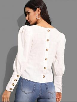 Elegant Plain Top Regular Fit Square Neck Long Sleeve Leg-of-mutton Sleeve Pullovers White Regular Length Button Detail Solid Top