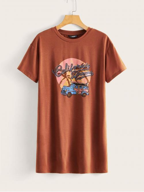 Casual Tee Graphic and Slogan Straight Loose Round Neck Short Sleeve Regular Sleeve Natural Brown Mini Length Car & Slogan Graphic T-shirt Dress