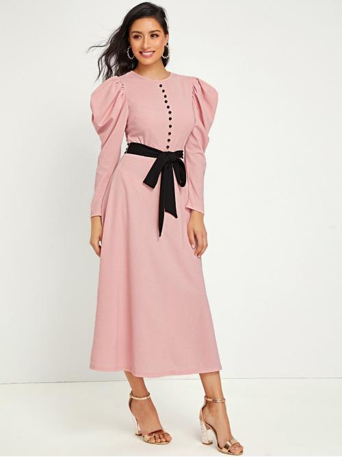 Elegant A Line Flared Regular Fit Round Neck Long Sleeve Leg-of-mutton Sleeve High Waist Pink and Pastel Long Length Button Front Gigot Sleeve Belted Dress with Belt