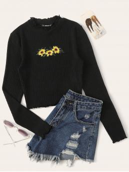 Casual Floral Slim Fit Round Neck Long Sleeve Pullovers Black Regular Length Lettuce Trim Embroidered Rib-knit Tee