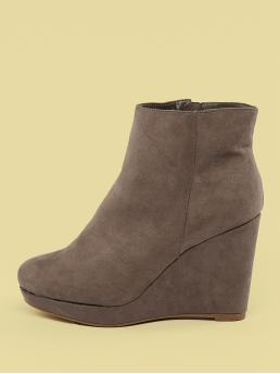 Glamorous Plain Platform Khaki High Heel Almond Toe Platform Wedge Booties