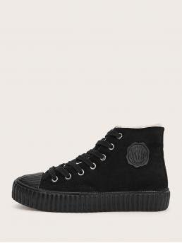 Comfort Round Toe Letter Lace Up Black Faux Fur Lined Lace-up Front Sneakers