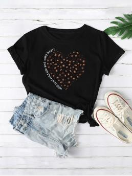 Casual Letter and Leopard Regular Fit Round Neck Short Sleeve Regular Sleeve Pullovers Black Regular Length Leopard And Letter Graphic Tee