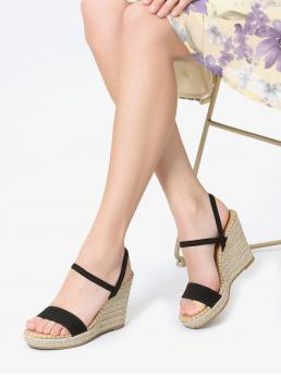 Polyester Black Mules Belted Platform Wedge Sandals Cheap