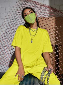 Half Sleeve Cotton Plain Neon Yellow Oversize Tee on Sale
