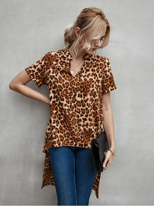 Short Sleeve Tunic High Low Polyester Hem Blouse on Sale