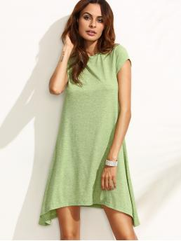 Discount Green Plain Asymmetrical Round Neck Swing Tee Dress