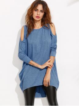 Casual Tee Plain Straight Round Neck and Cold Shoulder Three Quarter Length Sleeve Batwing Sleeve Natural Blue Mini Length Open Shoulder Dolman Sleeve Dip Hem Dress