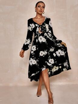 Beautiful Black all over Print Tie Front V Neck Allover Dress