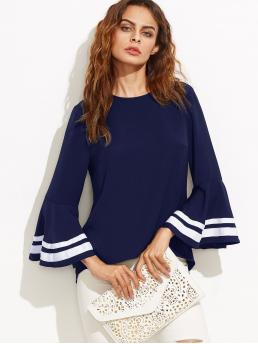 Elegant Striped Top Regular Fit Round Neck Long Sleeve Flounce Sleeve Pullovers Navy Striped Trim Bell Sleeve Keyhole Back Blouse