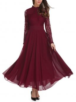 Burgundy Plain Contrast Lace Stand Collar Frill Neck Top Flowy Maxi Dress Fashion