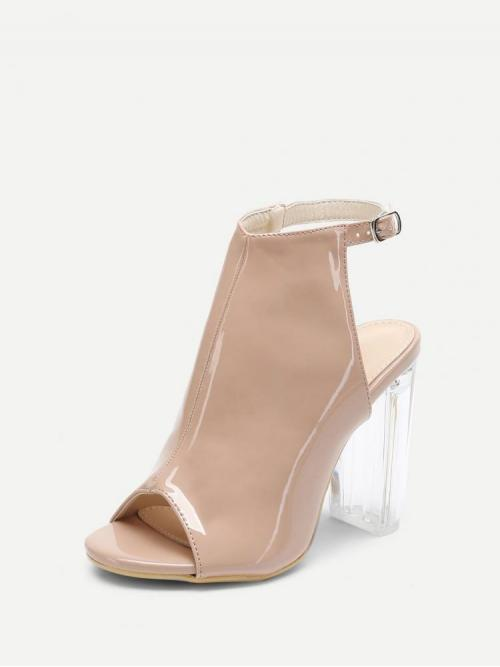 Corduroy Apricot Mules Pearls Buckle Heels Cheap
