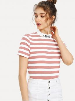 Casual Letter and Striped Slim Fit Stand Collar Short Sleeve Pink Regular Length Embroidered Mock Neck Striped Ribbed T-shirt