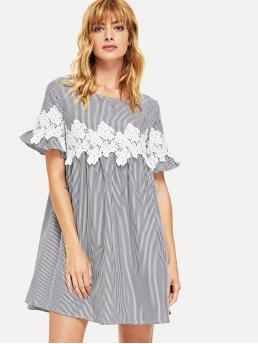 Boho Smock Striped Loose Round Neck Short Sleeve Flounce Sleeve High Waist Black and White Short Length Floral Lace Applique Frill Sleeve Striped Babydoll Dress