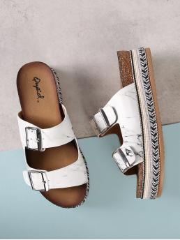 Open Toe White Double Band Buckle Sandals