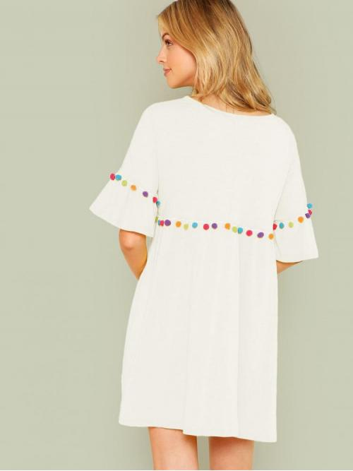 Discount White Plain Pom Pom Round Neck Pompom Trim Dress