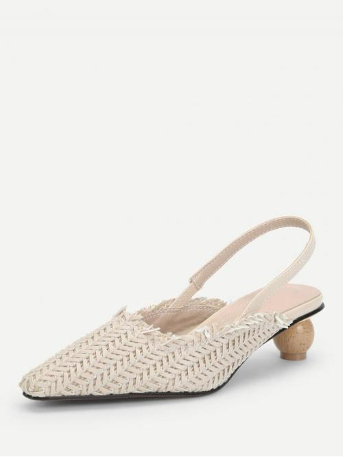 Clearance Tweed Apricot Bodycon Raw Hem Pointed Toe Slingback Straw Pumps