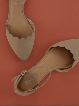 Ankle Strap Flats Point Toe D'orsay and Ankle Strap Nude Pointy Toe Scallop Trim Flats
