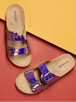 Casual Open Toe Strappy Multicolor Double Holographic Buckle Slide Footbed Sandals