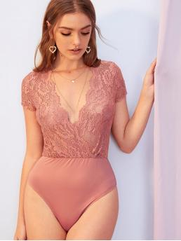 Sexy Shirt Plain Skinny Skinny Deep V Neck Cap Sleeve Mid Waist Pink and Pastel Plunging Neck Sheer Guipure Lace Wrap Bodysuit