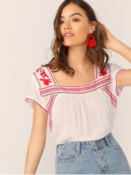 Women's Short Sleeve Top Ruched Mesh Straight Neck Embroidered Detail Peasant Blouse
