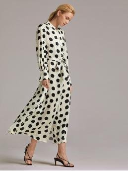 Elegant Shirt Polka Dot Straight Regular Fit Stand Collar Long Sleeve Natural Black and White Maxi Length Premium Button Front Flounce Sleeve Dot Print Belted Dress with Belt
