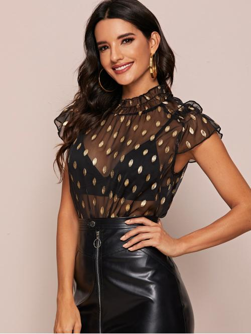 Sexy Polka Dot Top Regular Fit Stand Collar Cap Sleeve Pullovers Black Regular Length Frilled Neck Gold Dot Print Sheer Top Without Bra