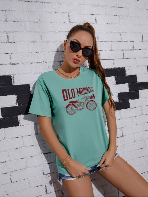 Sale Short Sleeve Cotton Graphic Mint Green Motorcycle and Tee