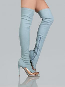 Polyester Baby Blue Stretch Boots Embroidery Frayed Thigh High Boots Fashion