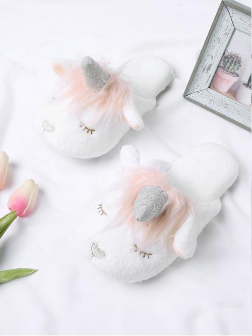 Tweed White Novelty Slippers Contrast Lace Unicorn Design Two Tone Flat Slippers Trending now