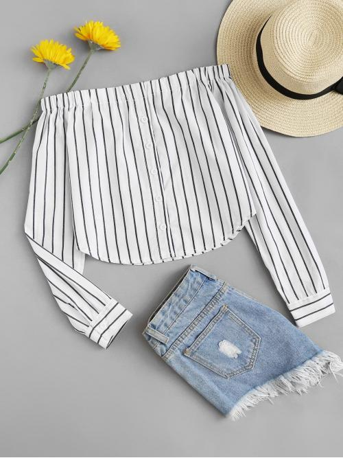 Casual Striped Top Off the Shoulder Long Sleeve Pullovers Black and White Button Through Striped Bardot Crop Top