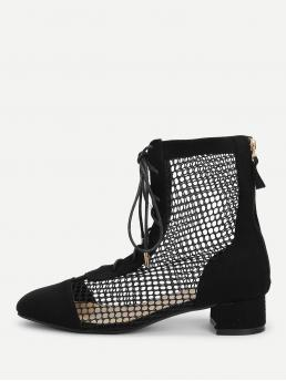 Comfort Lace-up Boots Round Toe Back zipper Black Mid Heel Mesh Detail Lace Up Boots